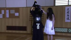 Asuka - looks to his left. Ghost clutching him. Asuka - sweatdrop!!