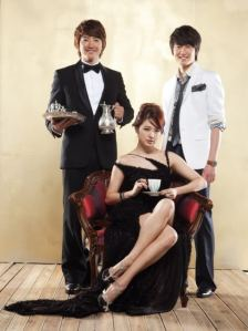 Take Care of the Young Lady aka My Fair Lady aka Lady Castle (they had copyright issues with the name, thus explaining all the changes, which merely served to confuse me further) / Left: Yoon Sang Hyun as Seo Dong Chan / Centre: Yoon Eun Hye as Kang Hye Na / Right: Jung Il Woo as Lee Tae Yoon