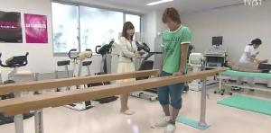 Naoki in therapy, working his ankle.