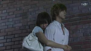 So of course, as he turns to leave, Natsuki hugs him from behind and begs him not to go